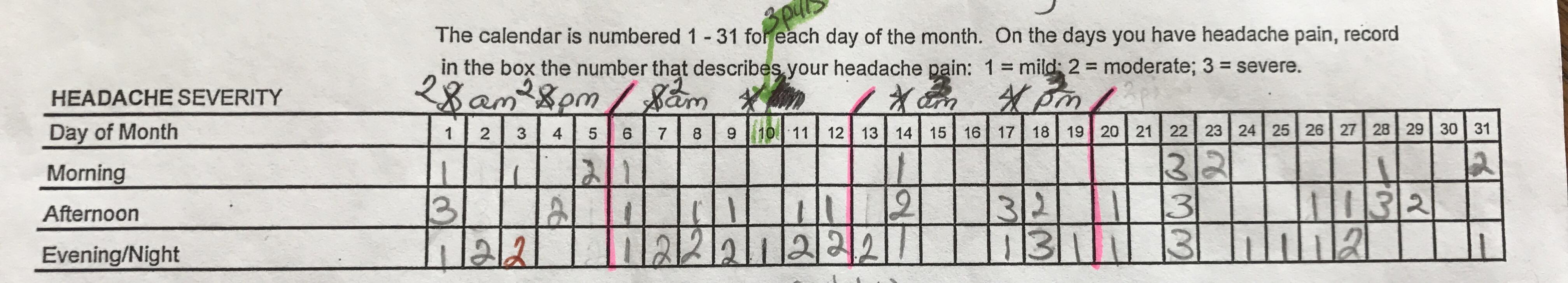 Headache Calendar