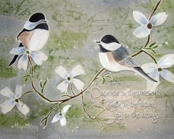 chickadee print with words